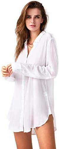 TOUSYEA Sleep Shirts for Women Button Down Shirts Long Sleeve Sleepwear Swimsuit Cover Ups Soft Pajama Tops