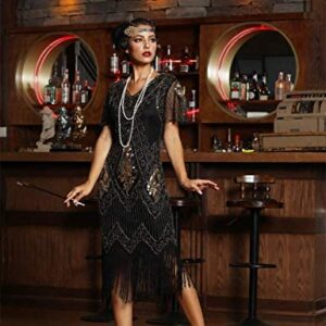 PrettyGuide Women's 1920s Dress Sequin Art Deco Flapper Dress with Sleeve