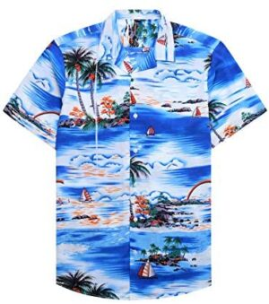 Alimens & Gentle 100% Cotton Regular Fit Short Sleeve Casual Hawaiian Shirt for Men