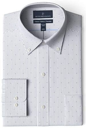 Amazon Brand - Buttoned Down Men's Classic-Fit Stripe Dress Shirt, Supima Cotton Non-Iron