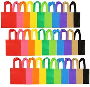 Aneco 30 Pack Party Bags Non-Woven Bag Trick or Treat Bags with Handles for Christmas Halloween Birthday Party Favor, 8 by 8 Inches, 10 Colors