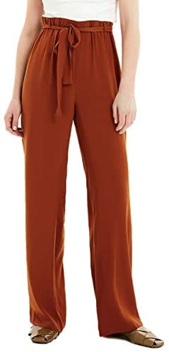 Basic Model Casual Palazzo Pants for Women High Waist Belted Paper Bag Pants with Pockets