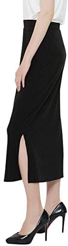 Charis Allure Women's Basic Ribbed Knit Maxi Skirt Lightweight Elastic High Waisted Straight Pencil Skirt with Side Slit