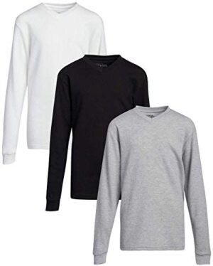Galaxy by Harvic Boys Base Layer T-Shirt - Long Sleeve Thermal Undershirt (3 Pack)