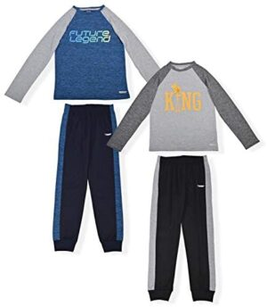 Hind Boys 4-Piece Active Long Sleeve Quick Dry T-Shirt and Athletic Jogger Sweatpant Set Kids Clothes for Sports and Running