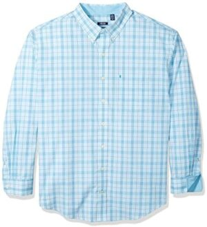 IZOD Men's Big and Tall Button Down Long Sleeve Performance Plaid Shirt (Discontinued)