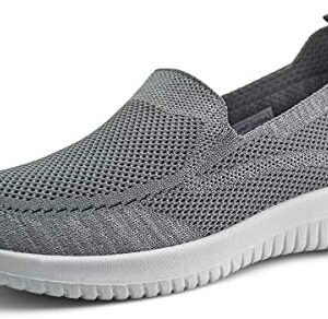 JABASIC Women Slip On Knit Loafers Comfortable Casual Walking Shoes (9.5,Grey)