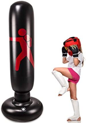 Kids Inflatable Freestanding Punching Bag, Heavy Kickboxing Punching Bags for Kids & for Women, Portable Indoor Home Child and Adult Weighted Boxing Punching Bag for Practicing Karate, Taekwondo, MMA.