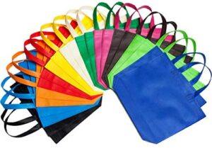 LOUHUA 22 Pcs 15 Inch ×13 Inch Large Party Gift Tote Bags with Handles 11 Colors for Birthday Favors, Snacks, Delivery Bag, Rainbow Tote Bag