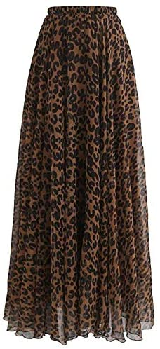 L'VOW Women's Elastic Leopard Print Watercolor Maxi Skirt High Waisted Dress Pleated Shirring