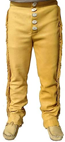 Men's Traditional Cowboy Western Leather Pants Gold with Fringe Native American Western Trouser Pant Buck Skin