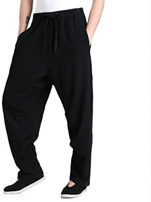 ZooBoo Men's Martial Arts Pants Kung Fu Linen Trousers Tang Suit Pants