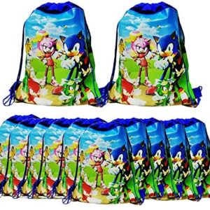 12 Packs Sonic the Hedgehog Drawstring Party Bag, Party Favors Bags Drawstring Backpacks Gifts Bags Birthday Party Supplies Favor Bag for kids Children Baby Shower(Blue)