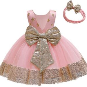 12M-6T Baby Dress Sequins Bowknot Flower Girl Dresses Lace Pageant Party Wedding Tutu Gown