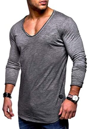 behype. Men's Basic V-Neck Casual Fashion Hipster T-Shirt Muscle Longline Tee Casual Premium Top MT-7314