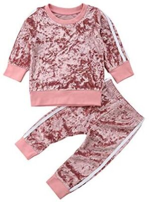 2 Pcs Fashion Toddler Kids Baby Girls Velvet Clothes Outfit Pant Set Long Sleeve Sweatshirt Tops Pants Tie Dye Clothes