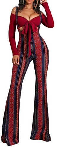 2 Piece Outfits for Women - Long Sleeve Tie Cropped Tops High Waisted Bell Pants Suspender Jumpsuits Overalls Sets