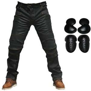 2019 Men Motorcycle Riding Jeans Armor Racing Cycling Pants with Upgrade Knee Hip Protector Pads (Black, L=32)