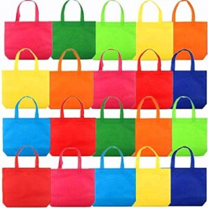 "20Pack 13"" Party Favor Gift Tote Bags, Assorted Bright Colors, Non-Woven Rainbow Treat Bags with Handles For Birthday Favors, Snacks, Toys"