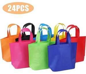 "24 Pack 13"" Tote Gift Bags One Side Blank Non-woven Bags Colored Treat Bags"