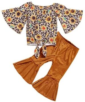 2Pcs Toddler Baby Girl Fall Clothes Sunflower Long Sleeve T-Shirt Tops Bell-Bottom Flare Pants Leopard Outfits Set