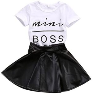 2Pcs Toddler Baby Girl Summer Skirt Clothes Short Sleeve T-Shirt + Leather Leopard Dress Kids Outfits Clothing Set