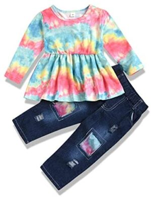 2pcs/Set Toddler Kids Girl Sunflower Outfits Sleeveless Vest Tops + Floral Denim Shorts Outfits