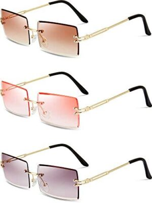 3 Pairs Rimless Rectangle Sunglasses Tinted Frameless Eyewear Vintage Transparent Rectangle Glasses for Women Men