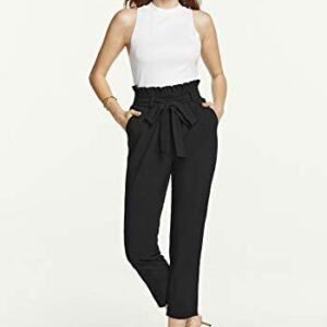 ATIKA Women's Cropped Paper Bag Pants, Casual Elastic High Waist Pant, Bowknot Slim Fit Trousers with Pockets