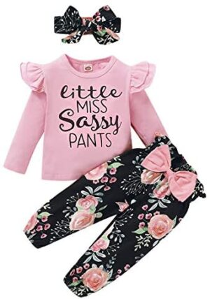 3Pcs Toddler Girl Clothes,Solid Color Long Sleeves Ruffle Top+ Floral Pant +Floral Headband