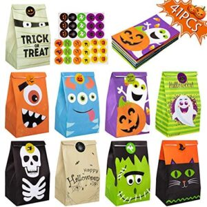 41PCS Halloween Treat Bags Party Favors - Trick or Treat Candy Goodie Gift Bag Stuffer Filler Paper Supplies Decorations with 45 Stickers