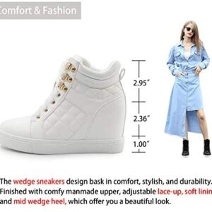 Athlefit Women's Hidden Wedge Sneakers Shoes Lace Up Fashion Wedge Sneakers