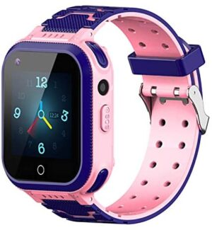 4G Kids Smart Watches, IP67 Waterproof LBS WiFi GPS Tracker Children Smartwatch Phone Call for Boys Girls, Touch Screen Cellphone Camera Voice Video Chat Anti-Lost SOS Learning Toy (Pink)