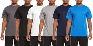 6 Pack: Men's Active Dry Fit Moisture Wicking Workout Athletic Performance Closed Mesh Short Sleeve Top T-Shirt