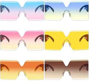 6 Pairs Oversized Square Sunglasses Rimless Frame Candy Color Glasses Transparent Square Glasses for Women