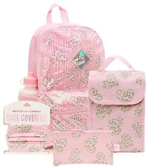 6 Pc. Sequin Girls Backpack Set, 16 inch, w/Washable Cloth Kids Face Mask, Lunch Bag, Pencil Case (Leopard Heart)
