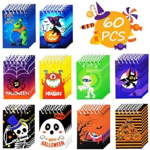 60PCS Halloween Notepads Party Favors for Kids - Spiral Notebooks Hallowmas Trick or Treat Goodie Bag Stuffers Filler Gifts Supplies Decorations, 10 Styles