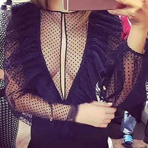 WEUIE Lace Bodysuit Jumpsuit for Women - Sexy V NeckSheer Clubwear Long Sleeve Party Playsuit Overalls Rompers