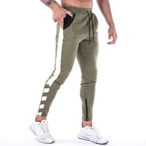 A WATERWANG Men's Track Pants, Athletic Joggers Sweatpants Slim Fit for Workout Running with Zipper Ankle Cuff
