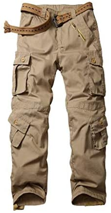 AKARMY Men's Ripstop Wild Cargo Pants, Relaxed Fit Army Camo Combat Casual Work Trousers with 8 Pockets