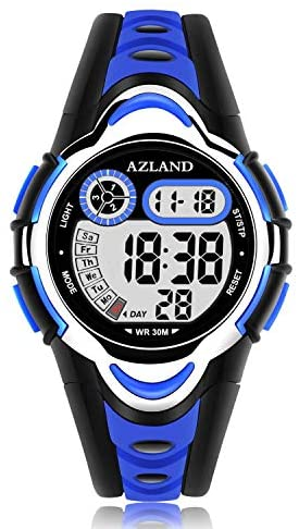 AZLAND Waterproof Swimming Frozen Sports Watch Boys Girls Led Digital Watches for Kids, Updated Version Three Alarms,Green …