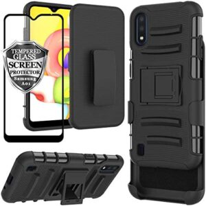 Ailiber Galaxy A01 Case with Belt Clip Holster, Samsung Galaxy A01 Screen Protector, Kickstand Holder, Heavy Duty Rugged Fullbody Armor Shell Protective Pouch Cover for Galaxy A01 SM-A015 - Black