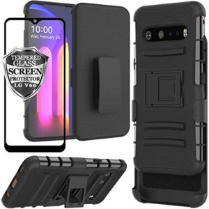 Ailiber LG V60 ThinQ Case Holster LG G9, LG V60 ThinQ 5G Screen Protector, Swivel Clip Kickstand Holder, Heavy Duty Rugged Fullbody Armor Shell Protective Pouch Cover for LGV60 LGG9 6.8inch - Black