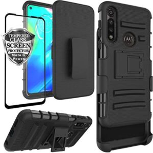 Ailiber Moto g Power Case with Belt Clip Holster, Motorola G Power Screen Protector, Kickstand Holder Heavy Duty Rugged Fullbody Armor Shell Protective Pouch Cover for Moto gpower 2020 6.4inch- Black