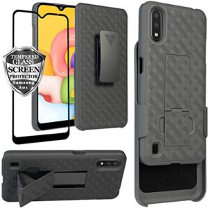 Ailiber Samsung Galaxy A01 Case Holster, Samsung A01 Screen Protector, Swivel Belt Clip Kickstand Holder, Slim Rugged Full Body Armor Shell Protective Pouch Cover for Galaxy A01 SM-A015 - Black