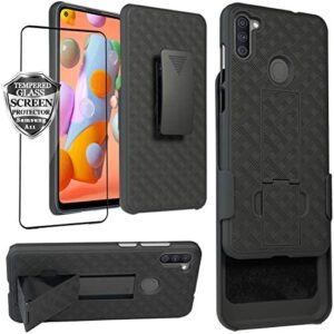 Ailiber Samsung Galaxy A11 Case Holster, Galaxy A11 Screen Protector, Swivel Belt Clip Kickstand Holder, Slim Rugged Full Body Armor Shell Protective Pouch Cover for Samsung A11 - Black