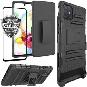 Ailiber Samsung Galaxy A71 Case Holster [Not Fit A71 5G], Galaxy A71 Screen Protector, Swivel Belt Clip Kickstand Holder, Heavy Duty Rugged Armor Shell Protective Pouch Cover for Samsung A71 - Black