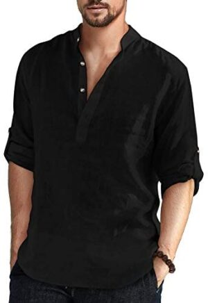Aimeilgot Men's Cotton Linen Henley Shirt Long Sleeve Hippie Casual Beach T Shirts