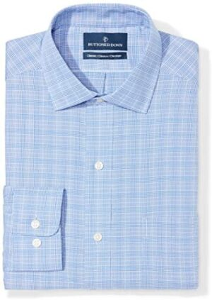 Amazon Brand - BUTTONED DOWN Men's Classic Fit Plaid Dress Shirt, Supima Cotton Non-Iron