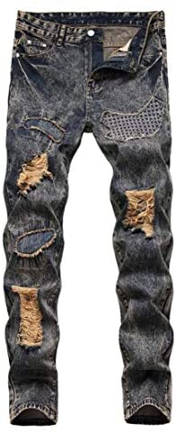 Amoystyle Men's Fashion Ripped Jeans Regular Fit Size US 30-40